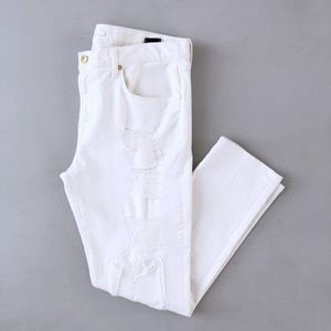 7 For All Mankind Women's White Distressed Jeans